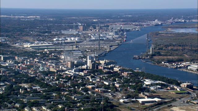 Savannah River through City  - Aerial View - Georgia,  United States