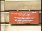 London LMS Sign on wall 'Foreign Commonwealth Office' PULL OUT to front of building CR2850 16890 ITN