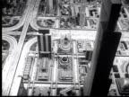 1945 B/W WS Scale model of futuristic city w/ expressways + skyscrapers / New York City, USA / AUDIO