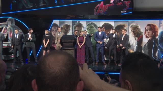 BROLL Scarlett Johansson Robert Downey Jr Chris Evans Elizabeth Olsen Aaron TaylorJohnson Jeremy Renner Paul Bettany Mark Ruffalo at 'Avengers The...