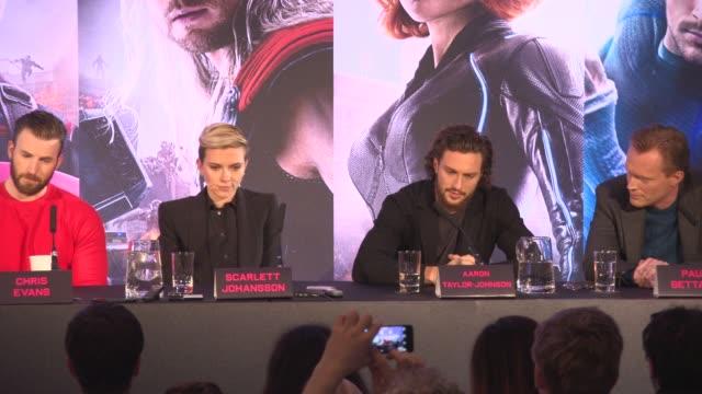INTERVIEW Scarlett Johansson Robert Downey Jr Chris Evans Elizabeth Olsen Aaron TaylorJohnson Jeremy Renner Paul Bettany Joss Whedon on who inspires...