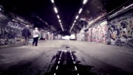 Scary Grunge Graffiti Tunnel. HD