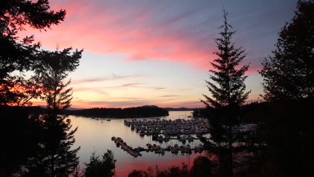 A scene from the small town of Roche Harbor on San Juan Island in Washington State at sunset.