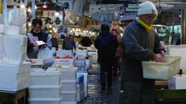 Scenes from The Tokyo Metropolitan Central Wholesale Market (????????? T?ky?-to Ch?? Oroshiuri Shij??), commonly known as the Tsukiji Market (???? Tsukiji shij??)