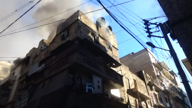 Scenes of destruction and fires after airstrikes in Aleppo Syria