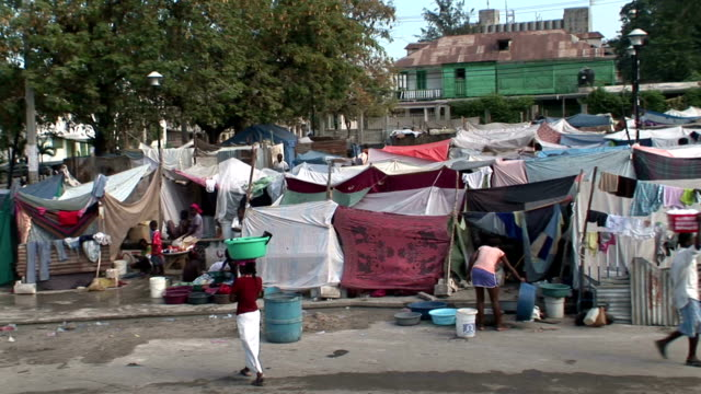Scenes of refugee camp after earthquake / temporary tents set up / laundry hanging on lines Refugee camp in Haiti on January 13 2010 in PortauPrince...