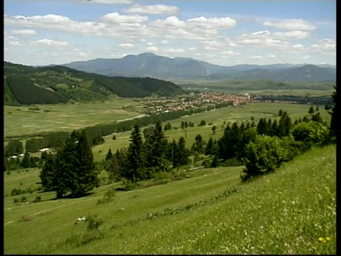 Scenic of river valley at foot of Carpathian Mountains, Romania