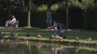 Schloss Schleißheim, park, man with his daughter, sunny, people, trees, lawn, water, ducks