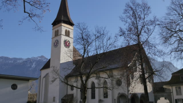 Schlosskirche and Rom.-Katholische Kirchgemeinde, Interlaken, Jungfrau region, Bernese Oberland, Swiss Alps, Switzerland, Europe