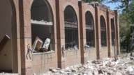 A school building is damaged in the Saudiled coalition airstrikes targeting Houthi concentrations in northern Ibb's Yarim town Yemen on April 23 2015...