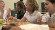 school children at lunch