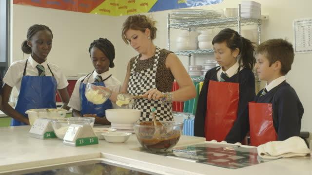 School children in catering