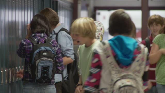 MS School children (12-17) in corridor, Cazenovia, New York, USA