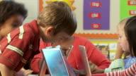 MS, PAN, School children (6-9) using laptops with teacher in classroom, Richmond, Virginia, USA