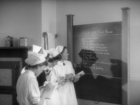 School girls write down a recipe for hot cross buns from a blackboard during a cookery lesson