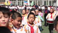 MS School marching band at school sports meeting AUDIO / xi'an, shaanxi, china