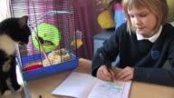 Schoolgirl and her pets