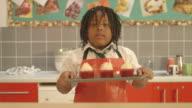 Schoolgirl with cupcake