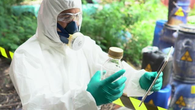 Scientist analyze the chemical hazard