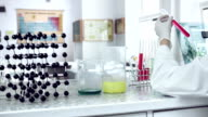 Scientist classifying liquid sample in a laboratory.