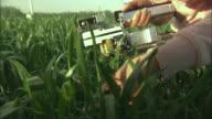 CU Scientist examining crops using equipment, Beijing, China