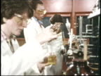 Scientists do experiments in a laboratory
