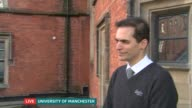 Scientists explore possible link between weather and joint pain ENGLAND Manchester University of Manchester EXT Reporter to camera/ Doctor Will Dixon...