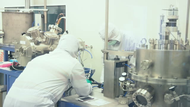 Scientists in modern laboratory