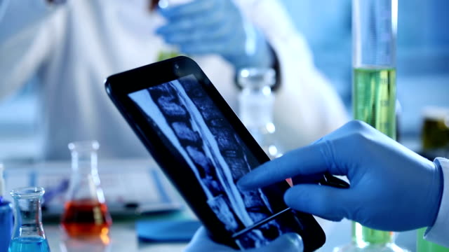 Scientists with digital tablet and x rays.