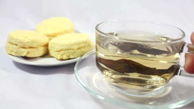 Scones biscuit with hot tea.