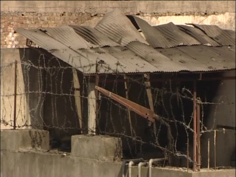 Scorched roof of compound where Osama Bin Laden was found by US military Abbottabad Pakistan