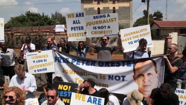 Scores of supporters of AlJazeera journalists jailed in Egypt demonstrated on Tuesday in Kenya the base of one of the detained reporters CLEAN...