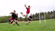 Scoring a diving try in Rugby match (Sport) Slow Motion