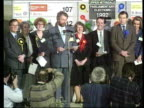 Scotland ITN LIB Dumfries MS Declaration of Lang victory in Galloway Upper Nithsdale CMS Lang on platform