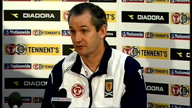 Glasgow Hampden Park INT Press conference setups George Burley press conference SOT Looking for SPL to cancel first game of next season to help...