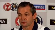George Burley press conference SCOTLAND INT George Burley press conference SOT Names players he will be taking to Macedonia / Eight games to try and...