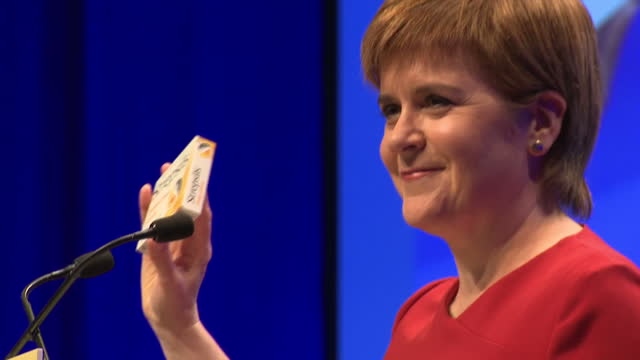 Scotland's First Minister Nicola Sturgeon spoke during the third day of the Scottish National Party conference Shows Nicola Sturgeon speaking during...