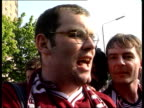 Hearts v Rangers ITN Vox pops Hearts supporters SOT Hearts supporters celebrating outside ground PAN