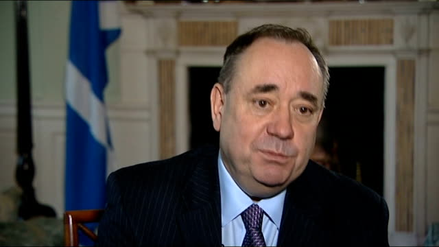 Alex Salmond interview / Burns Night celebrations Alex Salmond interview continued SOT Various setup shots of Alex Salmond and reporter looking at...