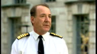 First Sea Lord interview ENGLAND London EXT White Ensign flying over Ministry of Defence building / Admiral Sir George Zambellas along with...