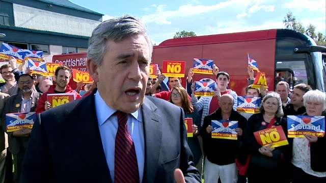 Alex Salmond Alistair Darling and Gordon Brown interviews Gordon Brown MP arriving to cheers and meting 'No' campaign supporters / Brown speaking to...