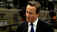 Cameron visits Maryhill Barracks David Cameron MP interview SOT Here to make a positive case for keeping the United Kingdom together / ProUnion side...