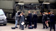 Cameron visits Maryhill Barracks Camaron along and speaking to media