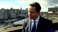 David Cameron interview SCOTLAND Edinburgh EXT David Cameron MP interview SOT