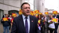 Ed Balls and Margaret Curran campaigning in Aberdeen EXT Balls and Curran posing for photocall with No supporters / Ed Balls MP interview SOT