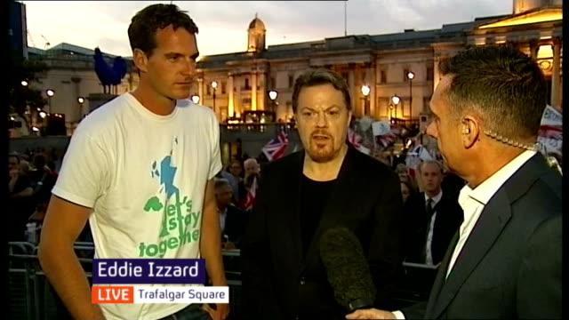 Eddie Izzard hosts 'Lets Stay Together' rally in Trafalgar Square ENGLAND London Trafalgar Square PHOTOGRAPHY** Reporter to camera Bob Geldof...