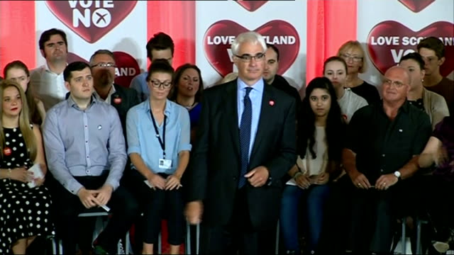 Final day of campaigning SCOTLANDGlasgow PHOTOGRAPHY** Various of Alistair Darling MP along 'Love Scotland Vote No' placard 'No Thanks' balloon...