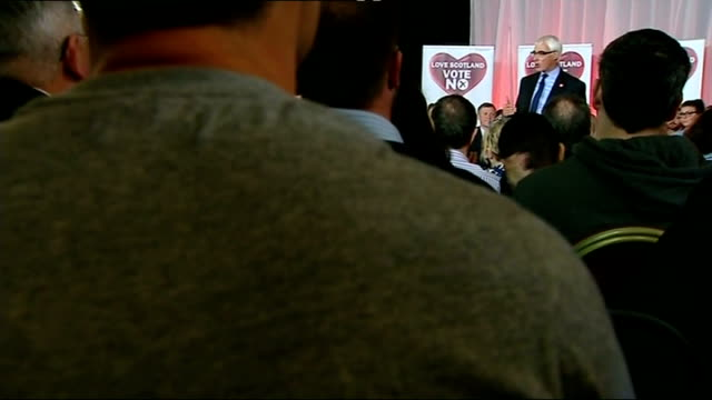 Final day of campaigning Glasgow Alistair Darling on stage at 'Better Together' rally