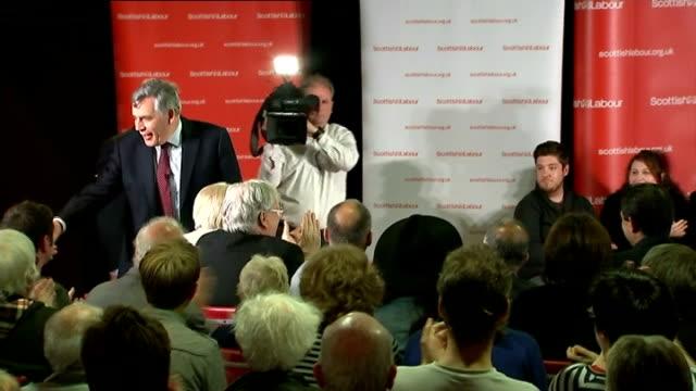 Gordon Brown speech in Loanhead SCOTLAND Midlothian Loanhead Loanhead Miners Welfare Social Club INT Gordon Brown MP arriving to applause and cheers...