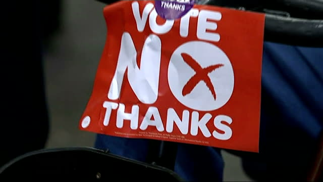 No campaign wins reaction to Orkney result SCOTLAND Edinburgh INT Close shot of 'Yes' supporter standing at results count/ close shot of 'No Thanks'...